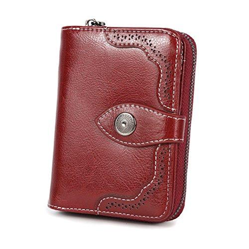 Vintage Echtes Leder Damen Geldbörse Klein Portemonnaie Frauen Geldbeutel mit Reißverschluss und Geschenkbox (Burgund Rot-b) -