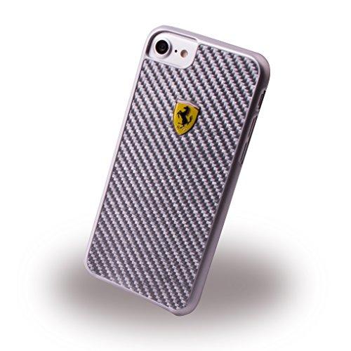 Ferrari FERCAHCP7SI Echte Carbon-Faser Hart Schutzhülle für Apple iPhone 7 Silber