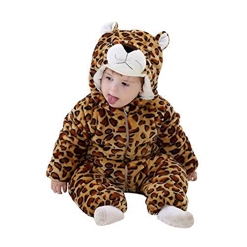 M&A Baby Overall aus Fleece, baby Kostüm Leopard,6-12 Monate