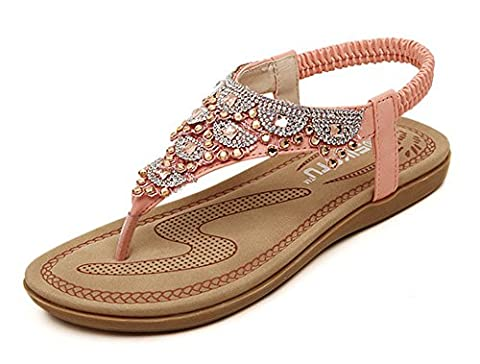 Minetom Femme Fille Strass Chaussures de Plage de Bohême Flip