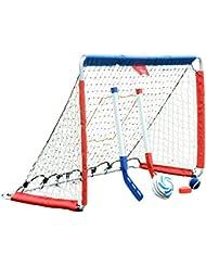 HLC® Portería de fútbol(122 x 55 x 76 cm), de metal,color azul y rojo
