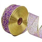 Leisial Hundehalsband Weihnachten Schleifenband Rot Weihnachtsdekoration Ribbon Weihnachtsbänder Dekoband Geschenkband 5CM*200CM Lila