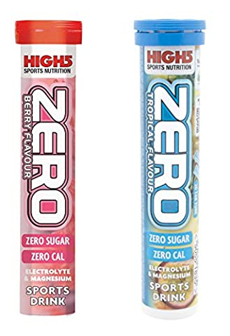 High5 Zero Electrolyte Sports Drink Tube of 20 tabs - Buy 1 Get One Free (1 x Berry + Tropical Free) Plus 2 x High5 Energy Gels