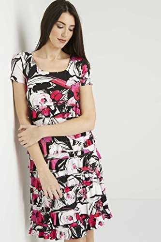 Roman Originals Women Floral Print Frill Jersey Dress – Ladies Stretch Summer Flattering Dresses – Cerise Pink – Cerise – Size 18