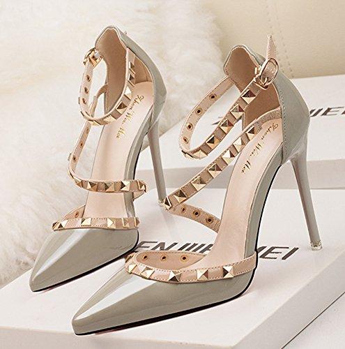 Minetom Scarpe Col Tacco Estate Donna Court Party Shoes Rotazione Rivetti Punta Aguzza Bocca Superficiale Sottile Tacchi Alti Pompa Sandali Tacco Alto Grigio