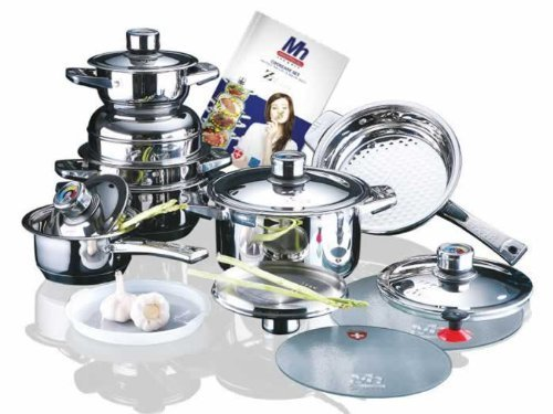 Millerhaus SAS16 16-Piece T304 Stainless Steel Cookware Set with 7-Ply Bottom by Millerhaus