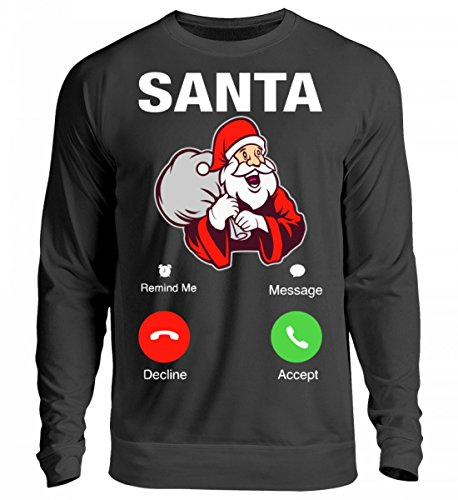 Hochwertiges Unisex Sweashirt - Weihnachten Geschenk Santa Calling Jet Schwarz