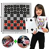 Elite Sportz Jumbo 3-in-1 Teppich-Spiel - Tic Tac Toe, Dame und XXL Spielkarten. Stundenlangen Spielspaß garantiert, sie werden es lieben! Inklusive strapazierfähige ZipUp-Tragetasche zur Aufbewahrung