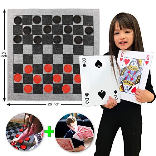 -in-1 Teppich-Spiel - Tic Tac Toe, Dame und XXL Spielkarten. Stundenlangen Spielspaß garantiert, sie werden es lieben! Inklusive strapazierfähige ZipUp-Tragetasche zur Aufbewahrung ()