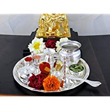 GoldGiftIdeas 8 Inch Kalash Silver Plated Pooja Thali Set, Occasional Gift, Pooja Thali Decorative, Wedding Gift