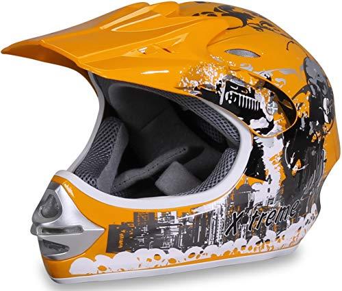 Actionbikes Motors Motorradhelm X-Treme Kinder Cross Helme Sturzhelm Schutzhelm Helm für Motorrad Kinderquad und Crossbike Modell Design 2015 in gelb (Medium)