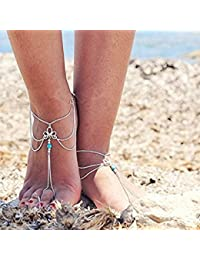 Tradico® New Fashion Beach Are Carved Turquoise Fringed Fingerless Anklet 230+50Mm Mjl52