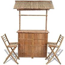 lingjiushopping Juego Banco de Bar de bambú con 2 taburetes y 1 mesa altura total del