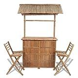 Tidyard Garten-Bar mit Barhockern 3-TLG. Gartenbar Set Bambus Klappstühlen Sitzgruppe Gartengarnitur