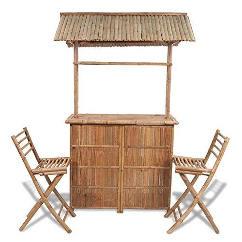 Bambus Set Klappstuhl (Tidyard Garten-Bar mit Barhockern 3-TLG. Gartenbar Set Bambus Klappstühlen Sitzgruppe Gartengarnitur)
