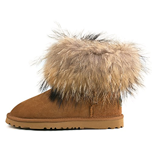 Shenduo - Bottes de neige femme, Boots fourrées de mouton doublure chaude en laine D8751 Marron