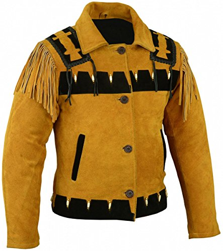 Western Reiter Lederjacke Indianer Tracht Westernjacke Jacke Karneval, Größe:54