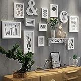 Groß Fotorahmen Amerikanische Retro Holzkunst Wand Schwarzweißes Quadrat Wohnzimmer Fotorahmen Garten Kreative Wandtiere Blumen- und Vogelmuster 12 (Stück) (177 * 72 cm / 69 * 28 Zoll) Fotowandanzeige
