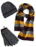 Vedoneire Herren Mütze, Schal & Handschuh-Set Gr. Einheitsgröße, Grey Stripe Wool Mix Scarf + Grey Hat and Gloves