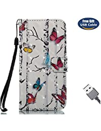 Funda iPhone 8,Funda Cover iPhone 7,Aireratze Slim Case de Estilo Billetera Carcasa Libro de Cuero,Carcasa PU Leather Con TPU Silicona Ultra Smooth Glitter 3D Surface Bright Color Cute Estuche para niños [Correa de mano colocada] Case Interna Suave [Función de Soporte] [Ranuras para Tarjetas y Billetera] [Cierre Magnético] para Apple iPhone 8/iPhone 7 (Blanco) (+ Cable USB)