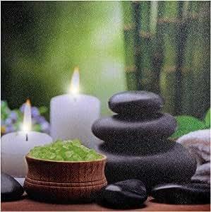 led wandbild wellness feng shui erholung kerzen beleuchtet garten. Black Bedroom Furniture Sets. Home Design Ideas
