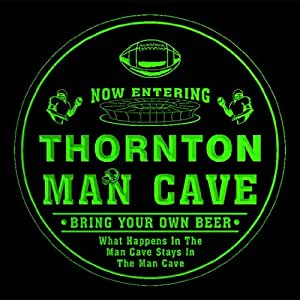 4x ccqa2263-g THORNTON Man Cave Football Bar Beer 3D Etched Engraved Drink Coasters