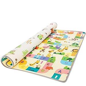 ZOPA Doppelseitig Spielteppich Spielmatte Schaumstoffmatte Schaumstoffunterlage Play – 150×180 cm