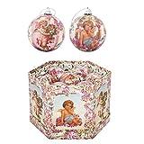 Box 14 palle di Natale lucide diametro 75 mm | Confezione 14 sfere natalizie per albero fantasia angelo | Scatola palline pendenti colorate per albero di natale | Decorazioni albero in polyfoam 7,5 cm
