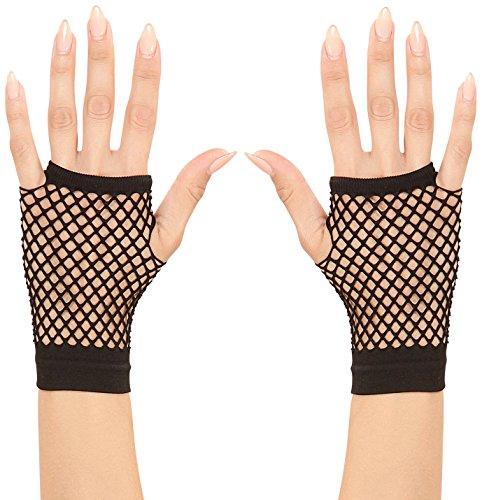 (WIDMANN 1487K–Netz-Handschuhe ohne Finger, schwarz, Erwachsene)