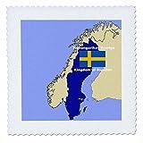 3dRose Karte und Flagge von Schweden Bedruckt mit der