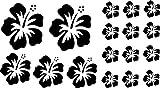XL Design Set in Schwarz 17 Stück HIBISKUS Blüten Autoaufkleber selbstklebende Blumen bunte Sticker Outdoor, Wandtattoo & Fensterbild wählen Sie aus 32 Farben!