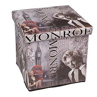 Hossi's Wholsale Hochwertiger Sitzhocker London grau Sitzwürfel Aufbewahrungsbox 38 x 38 x 38cm inkl. 1 Rolle 16l Abfallbeutel