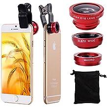 XCSOURCE® Kit de Lentes 180° Ojo de Pez + Gran Angular paraiPhone 4S 4G 4 5 5G 5S 5C 6 6plus 3GS Samsung GALAXY S2 I9100 S3 I9300 S4 I9500 Note I9220 Note2 N7100 Note3 i8190 HTC / 180° Fisheye + Wide Angle Lens por iPhone 4 4S 5 iPad 2 iPad mini Galaxy S3 S4 i9700 Nokia DC264R