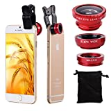 XCSOURCE® 180 Degree Fish Eye Lens + Wide Angle + Macro Lens Kit for iPhone 4, 4S, 5, 5S, 5C, 6, 6 Plus, Samsung GALAXY, S2, S3, S4, Note2, N7100, Note3, S5, S6, S6 Edge, mini i8190, HTC, LG DC264 (Red)