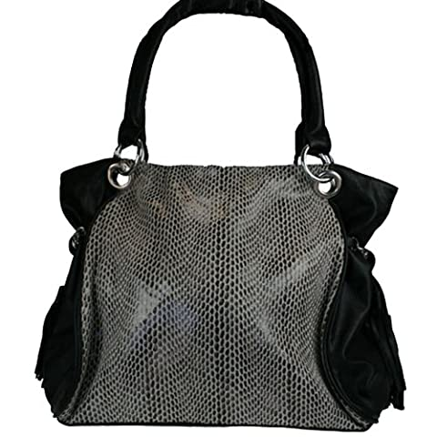 Fashion Handbag in Black with Reptile Print 844-H (BLACK)