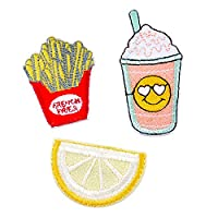 Souarts Fries Lemon and Drink Patch Cartoon Brooch Pin Badges Set for Clothes Bag Backpack Jackets