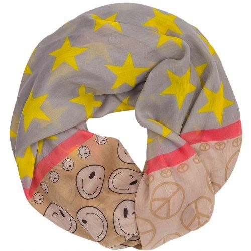 CASPAR - Écharpe tube pour femme - Foulard - Châle avec étoiles et smileys - plusieurs coloris - SC369