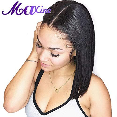 Maxine gerade Brasilianische, kurze Bob-Echthaarperücke mit Baby Haar, nicht geleimt, 100% naturbelassenes menschliches Haar, Bob, Lace-Front-Perücke für Damen (Brasilianische Kurze)