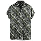 friendGG❤Herren Hemden Outdoor Fun-T-Shirts Sport & Freizeit Herrenbekleidung Sportswear-Shirts Hemden Sommer Mode Top Gedruckte hawaiianische Breathable beiläufige kurze Hülsen-lose Hemden der Männer