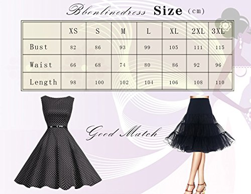 Bbonlinedress 50s Vintage Retro U-Ausschnitt Rockabilly Cocktail Party Kleider Navy Flower M - 2