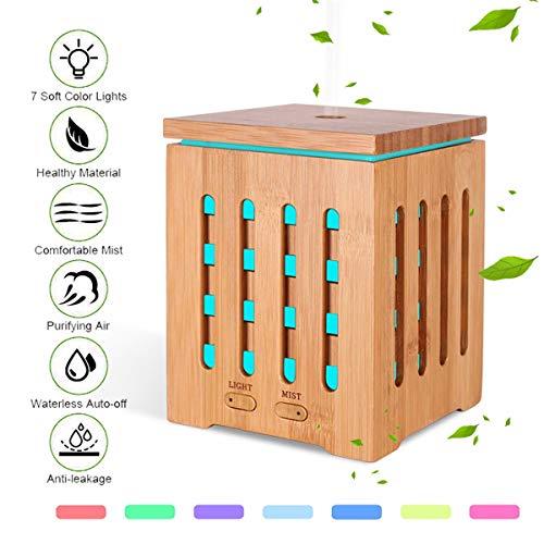 JASZHAO Lumière de Nuit de Couleur, véritable diffuseur en Bambou d'huile Essentielle, humidificateur de diffuseur d'arôme pour la Chambre de bébé de Yoga de Bureau à la Maison