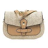 Mitlfuny handbemalte Ledertasche, Schultertasche, Geschenk, Handgefertigte Tasche,Frauen-Strand-Farbe, die gesponnene Beutel-Leinwand-Quadrat-Beutel-Kuriertasche zusammenbringt