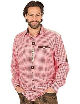orbis Textil Trachtenhemd Krempelarm Karo Weiss Rot