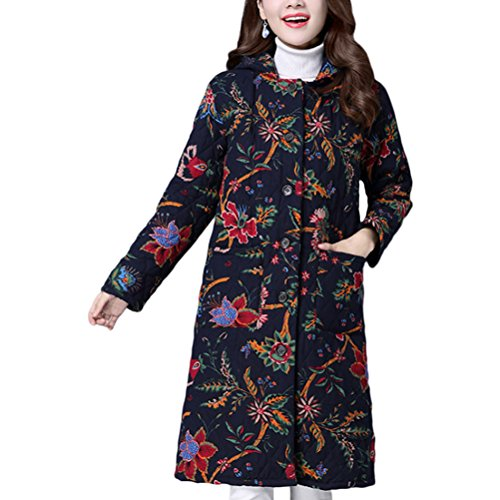 Zhuhaitf Winterjacke Damen Mantel Japanese Style Cotton Down Thick Outerwear Flora Women Long Coats and Jackets with Hooded Elegant