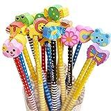 Ensembles de crayons HB avec gomme Cute Cartoon Animal pour enfants d'écriture Cadeau dragées, Fournitures scolaires enfants Cadeau (12pcs)