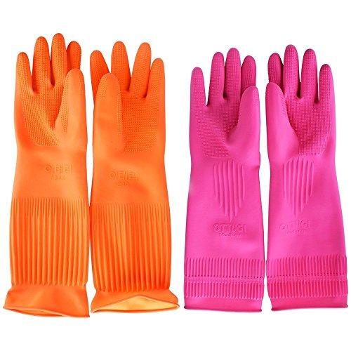 Top819 Trade - Guanti per la pulizia, riutilizzabili, lunghi, in gomma, per cucina, pulizie domestiche, lavare i piatti Pink&o