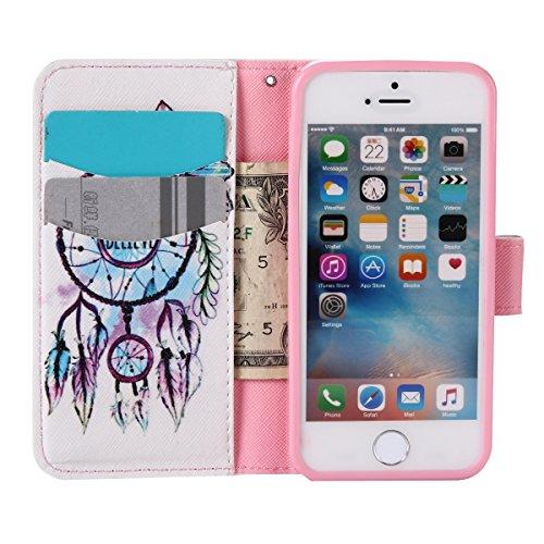 Custodia iPhone SE, Custodia iPhone 5S a portafoglio, Tebeyy Premium, motivo Fiore/Animale/ Personaggi, in pelle PU [chiusura magnetica] con fessura per carte per Apple Iphone SE/5S/5, Cavalletto, Por Wind chime