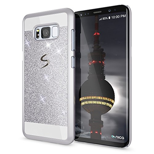 NALIA Handyhülle kompatibel mit Samsung Galaxy S8, Glitzer Slim Hard-Case Back-Cover Schutz-Hülle, Handy-Tasche im Glitter Design, Dünnes Bling Strass Etui Smart-Phone Skin, Farbe:Silber Strass Bling Back Case