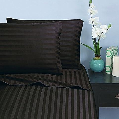 Élégant Comfort® Damask-stripes 1500fils égyptien de qualité de rides et résistant à la décoloration–Luxueux doux comme de la soie 4pièces de lit, poche profonde, toutes les tailles et couleurs disponibles, Coton, marron chocolat, California King