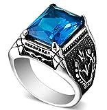 Adisaer Personalisierte Mit Gravur Gothic Ring Herren Edelstahl Titanstahl Vintage Punk Bands Ringe Retro Punk Square Cut Blau Ringgröße 57 (18.1)